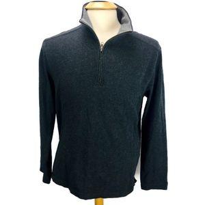 J Crew Half Zip Sweater 100% Cotton Solid Gray Med